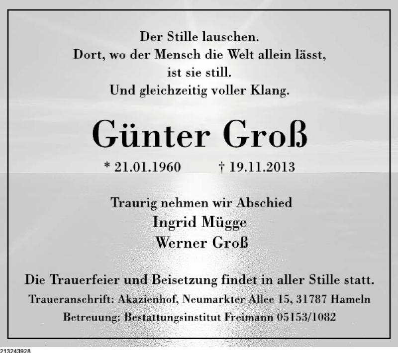 Traueranzeige für Günter Groß vom 23.11.2013 aus Deister- und Weserzeitung