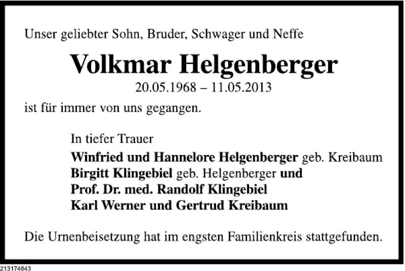 Traueranzeige für Volkmar Helgenberger vom 15.06.2013 aus Deister- und Weserzeitung
