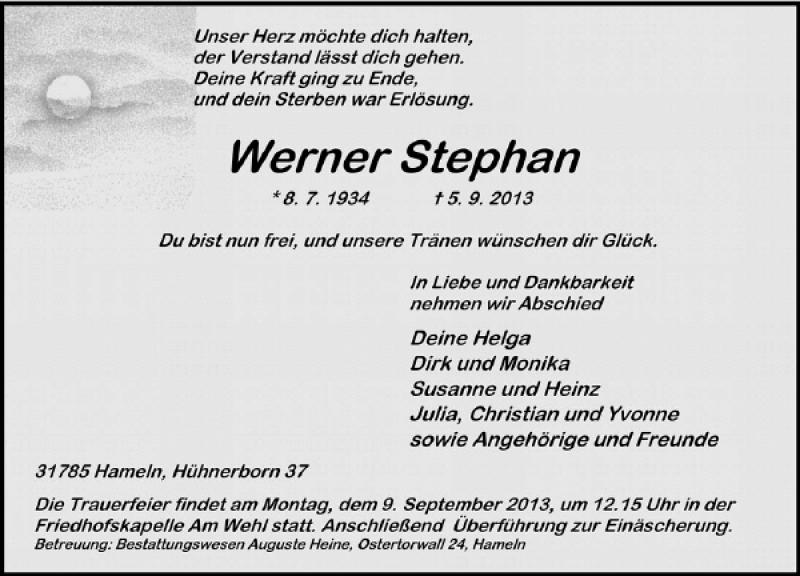 Traueranzeige für Werner Stephan vom 07.09.2013 aus Deister- und Weserzeitung
