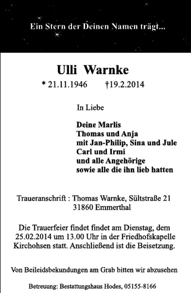 Traueranzeige für Ulli Warnke vom 21.02.2014 aus Deister- und Weserzeitung
