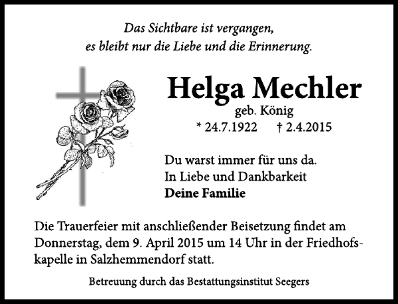 Traueranzeige für Helga Mechler vom 08.04.2015 aus Deister- und Weserzeitung
