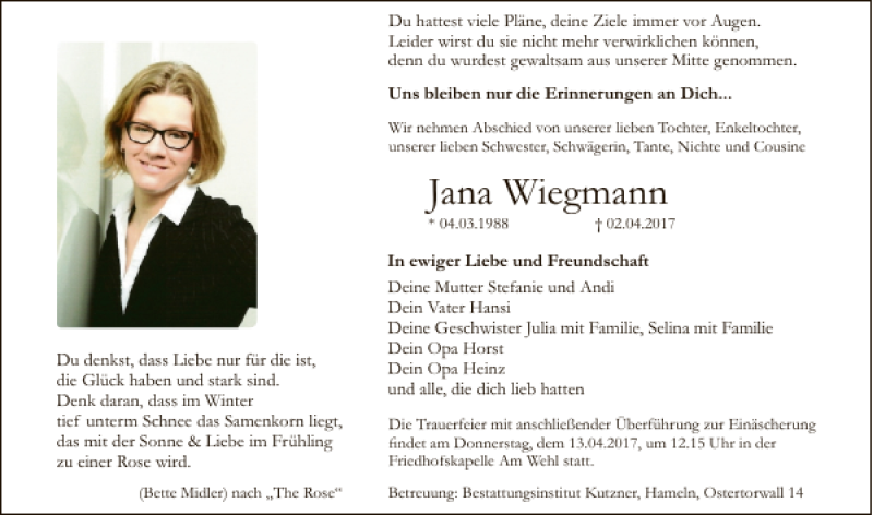Traueranzeige für Jana Wiegmann vom 08.04.2017 aus Deister- und Weserzeitung