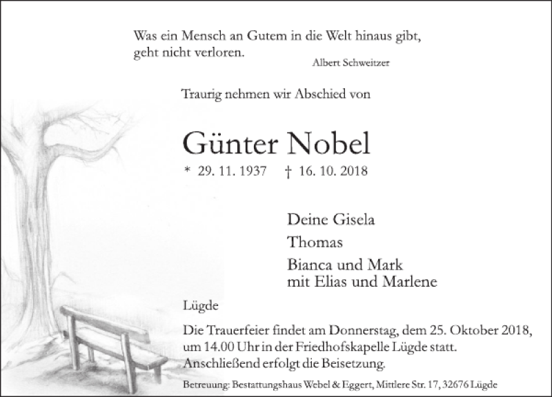 Traueranzeige für Günter Nobel vom 20.10.2018 aus Deister- und Weserzeitung