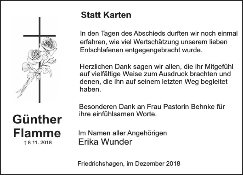Traueranzeige für Günther Flamme vom 15.12.2018 aus Deister- und Weserzeitung