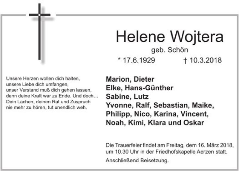 Traueranzeige für Helene Wojtera vom 13.03.2018 aus Deister- und Weserzeitung