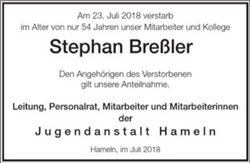 Traueranzeige für Stephan Breßler vom 28.07.2018 aus Deister- und Weserzeitung