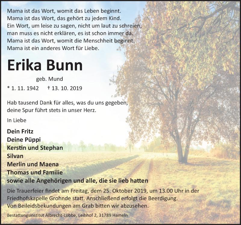 Traueranzeige für Erika Bunn vom 19.10.2019 aus Deister- und Weserzeitung