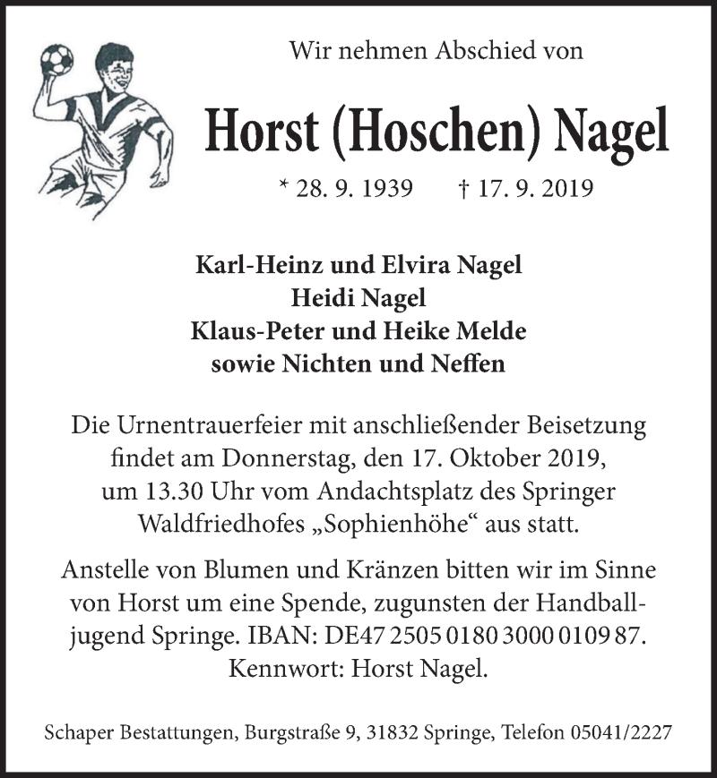 Traueranzeige für Horst Nagel vom 05.10.2019 aus Neue Deister-Zeitung