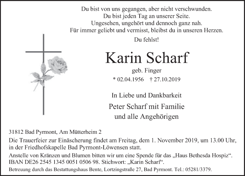 Traueranzeige für Karin Scharf vom 30.10.2019 aus Deister- und Weserzeitung
