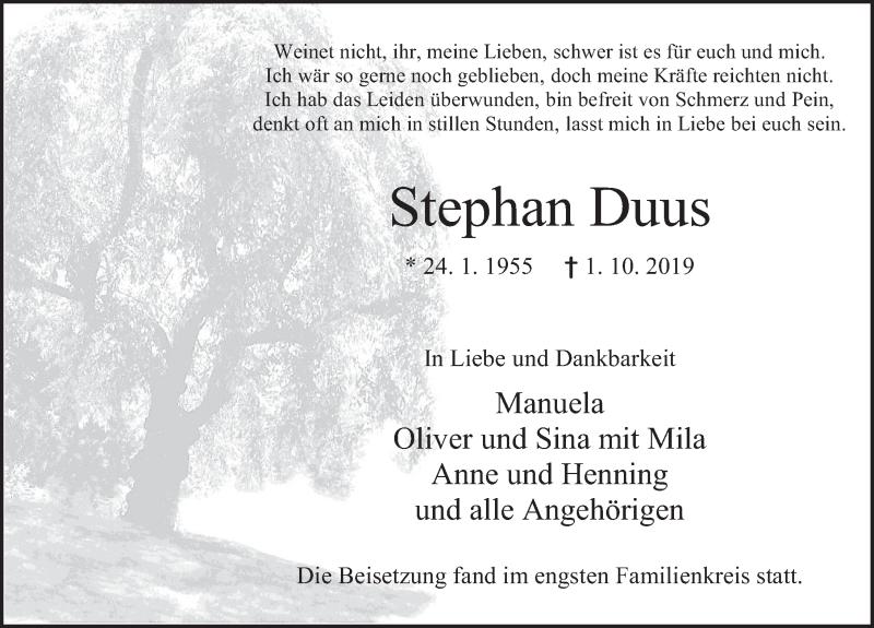 Traueranzeige für Stephan Duus vom 19.10.2019 aus Deister- und Weserzeitung