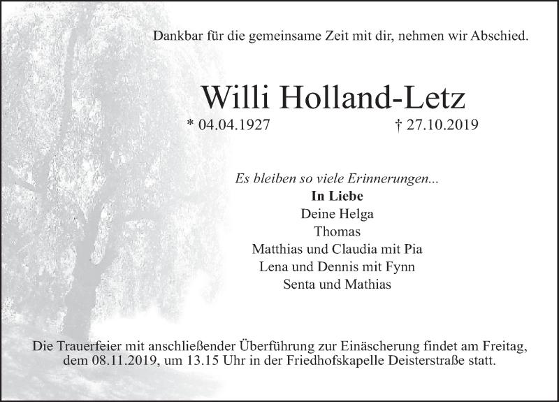 Traueranzeige für Willi Holland-Letz vom 02.11.2019 aus Deister- und Weserzeitung