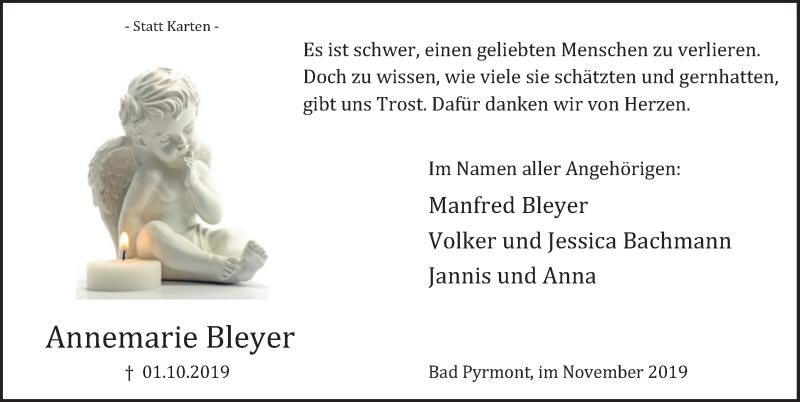 Traueranzeige für Annemarie Bleyer vom 02.11.2019 aus Deister- und Weserzeitung