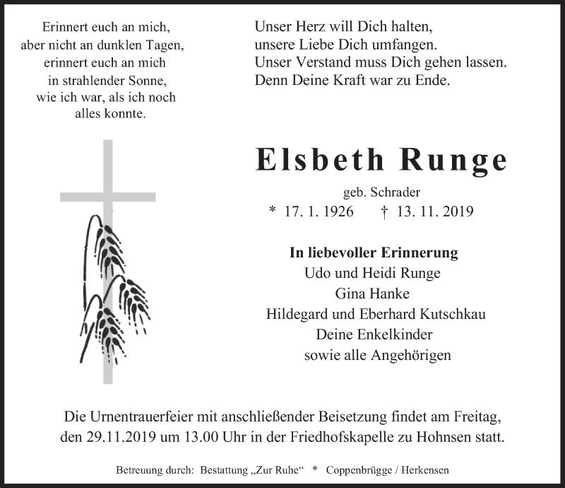 Traueranzeige für Elsbeth Runge vom 23.11.2019 aus Deister- und Weserzeitung