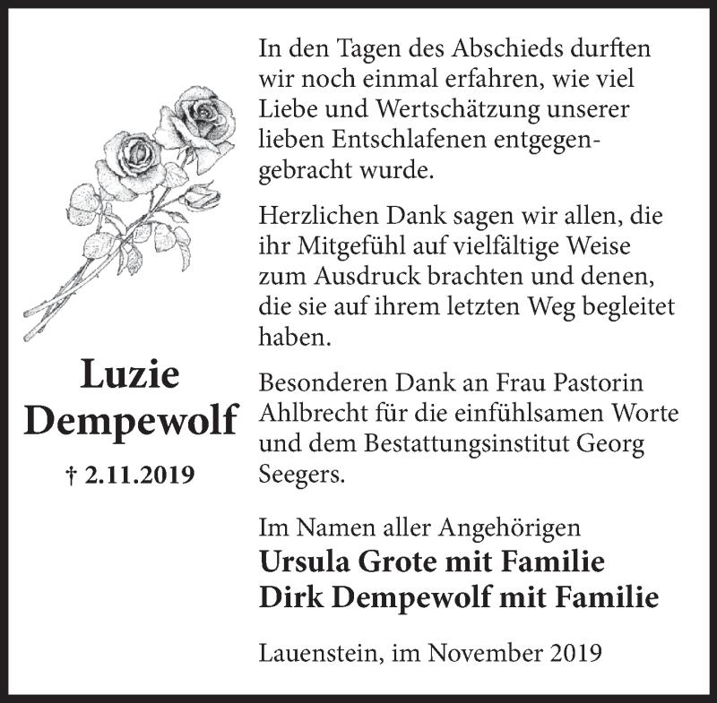 Traueranzeige für Luzie Dempewolf vom 23.11.2019 aus Deister- und Weserzeitung