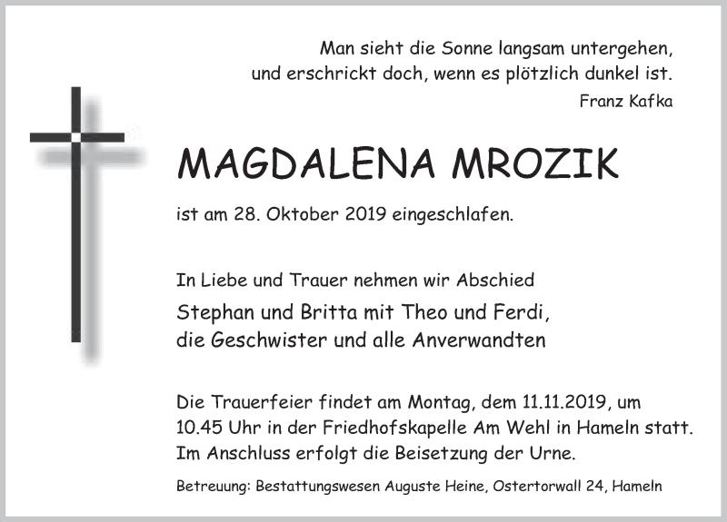 Traueranzeige für Magdalena Mrozik vom 02.11.2019 aus Deister- und Weserzeitung