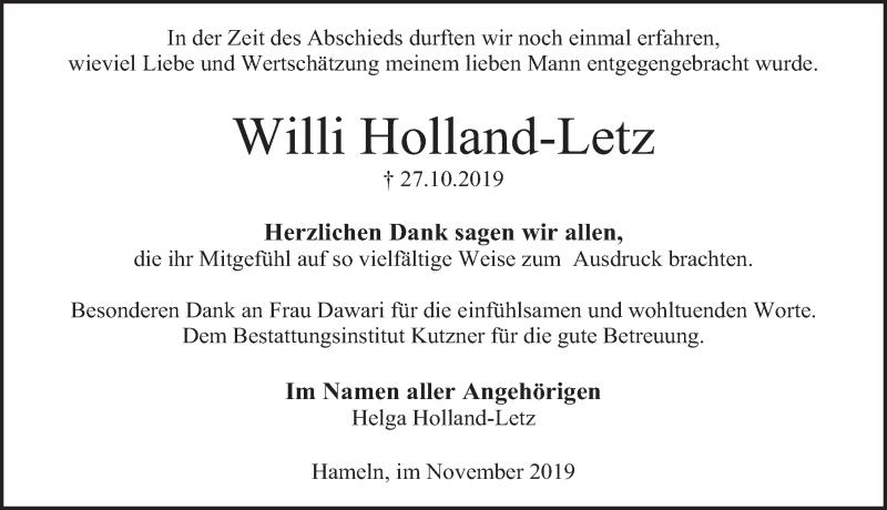 Traueranzeige für Willi Holland-Letz vom 23.11.2019 aus Deister- und Weserzeitung