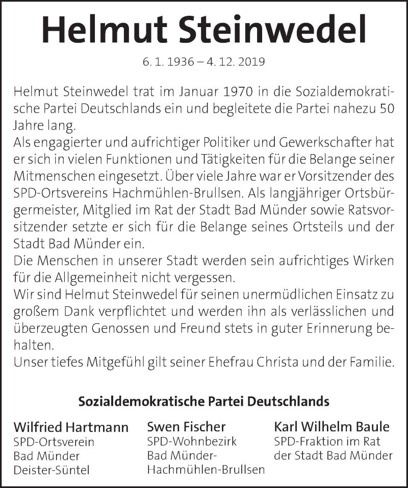 Traueranzeige für Helmut Steinwedel vom 14.12.2019 aus Neue Deister-Zeitung