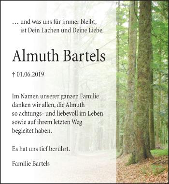 Traueranzeige für Almuth Bartels vom 01.06.2019 aus Neue Deister-Zeitung