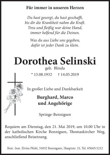 Traueranzeige für Dorothea Selinski vom 18.05.2019 aus Neue Deister-Zeitung
