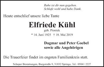 Traueranzeige für Elfriede Kühl vom 25.05.2019 aus Neue Deister-Zeitung