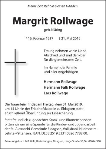 Traueranzeige für Margit Rollwage vom 25.05.2019 aus Neue Deister-Zeitung