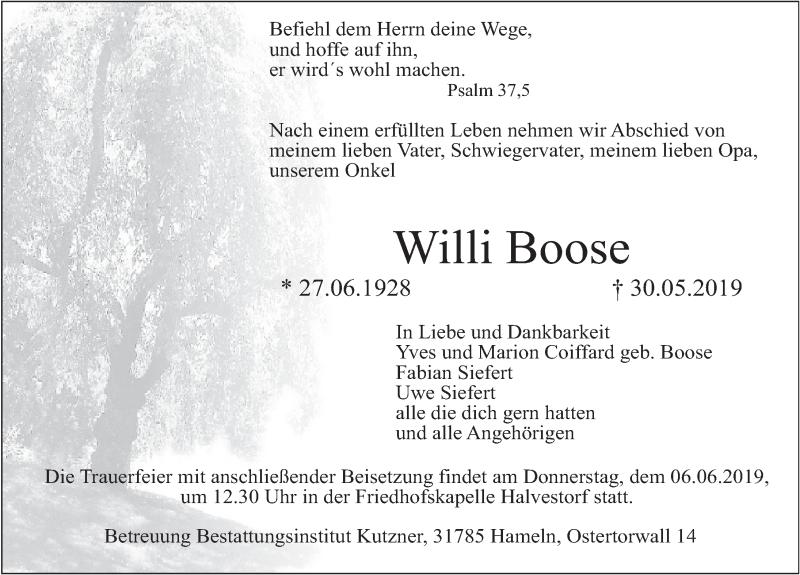 Traueranzeige für Willi Boose vom 01.06.2019 aus Deister- und Weserzeitung