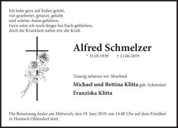 Traueranzeige für Alfred Schmelzer vom 15.06.2019 aus Deister- und Weserzeitung