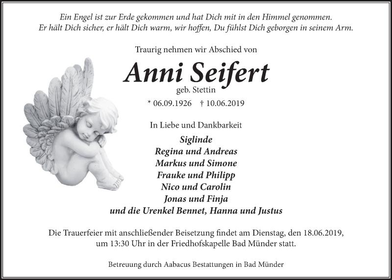 Traueranzeige für Anni Seifert vom 15.06.2019 aus Neue Deister-Zeitung
