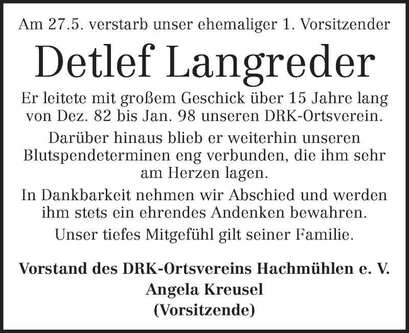 Traueranzeige für Detlef Langreder vom 05.06.2019 aus Neue Deister-Zeitung