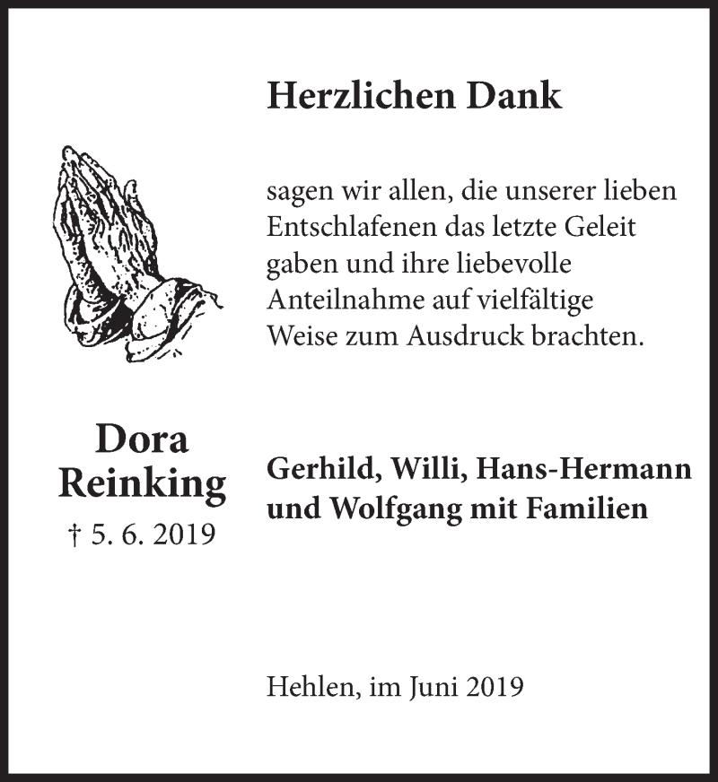 Traueranzeige für Dora Reinking vom 29.06.2019 aus Deister- und Weserzeitung