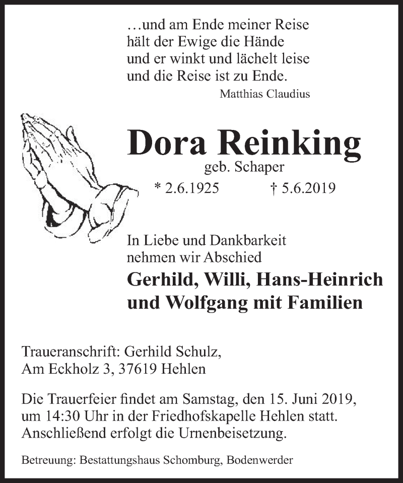 Traueranzeige für Dora Reinking vom 08.06.2019 aus Deister- und Weserzeitung