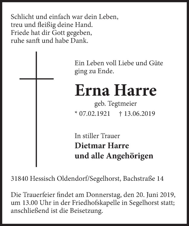 Traueranzeige für Erna Harre vom 15.06.2019 aus Deister- und Weserzeitung