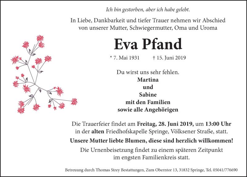 Traueranzeige für Eva Pfand vom 22.06.2019 aus Neue Deister-Zeitung