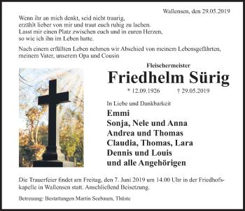 Traueranzeige für Friedhelm Sürig vom 06.06.2019 aus Deister- und Weserzeitung