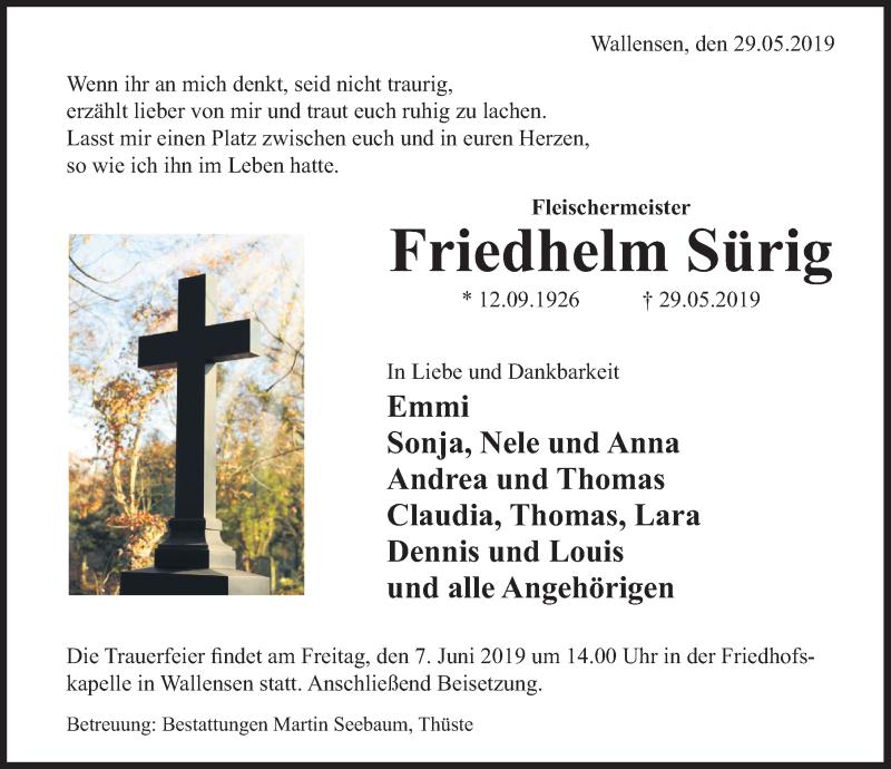 Traueranzeige für Friedhelm Sürig vom 05.06.2019 aus Deister- und Weserzeitung