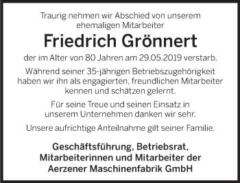 Traueranzeige für Friedrich Grönnert vom 08.06.2019 aus Deister- und Weserzeitung