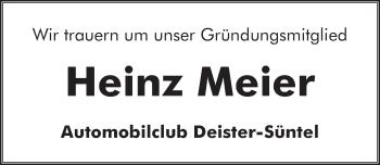 Traueranzeige für Heinz Friedrich Meier vom 13.06.2019 aus Neue Deister-Zeitung