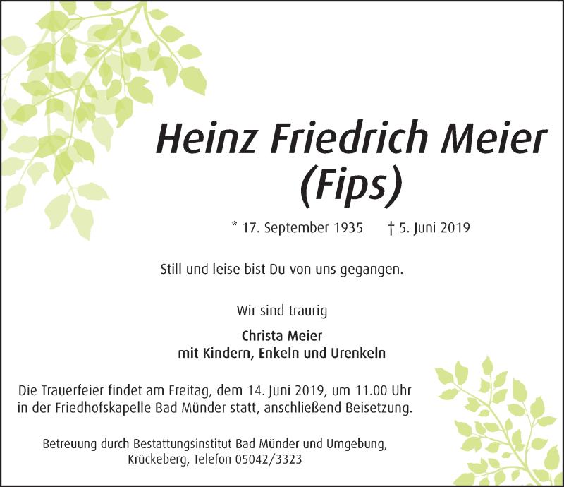 Traueranzeige für Heinz Friedrich Meier vom 08.06.2019 aus Deister- und Weserzeitung