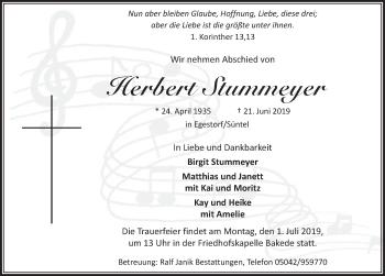 Traueranzeige für Herbert Stummeyer vom 29.06.2019 aus Neue Deister-Zeitung