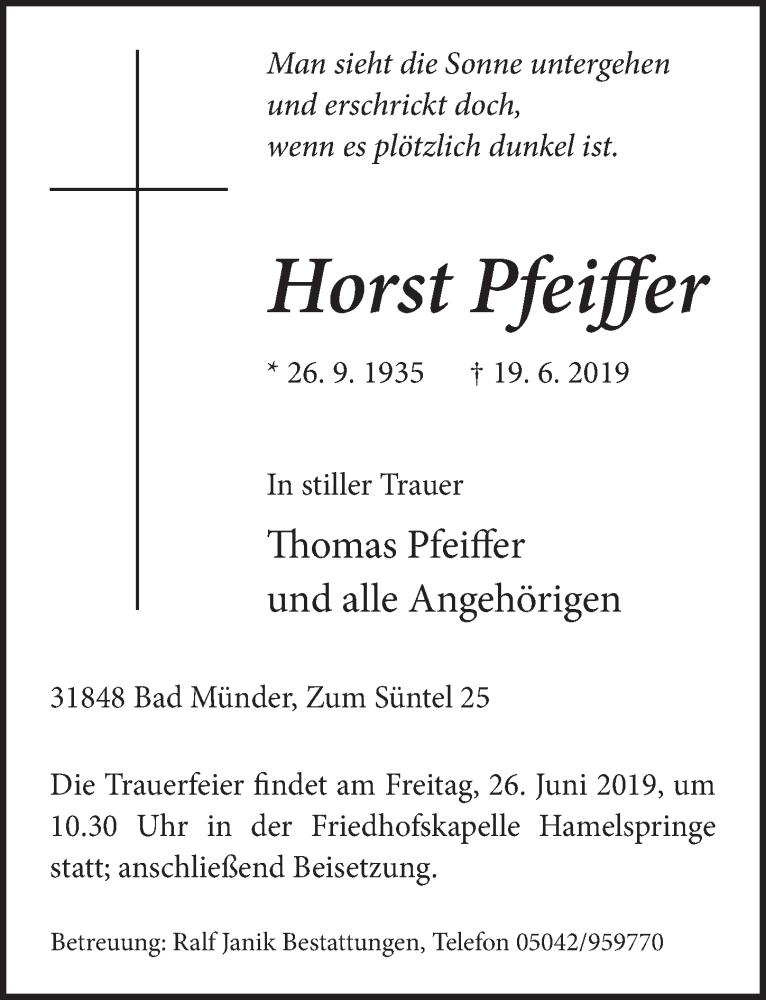 Traueranzeige für Horst Pfeiffer vom 22.06.2019 aus Neue Deister-Zeitung