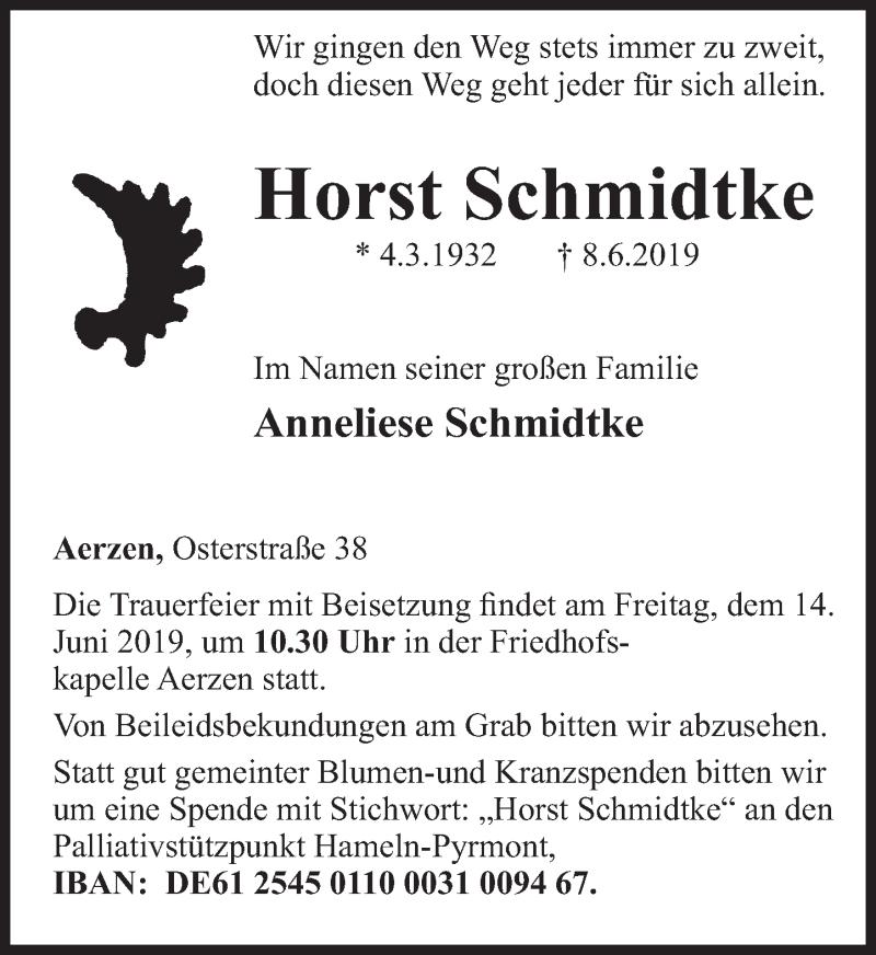 Traueranzeige für Horst Schmidtke vom 12.06.2019 aus Deister- und Weserzeitung