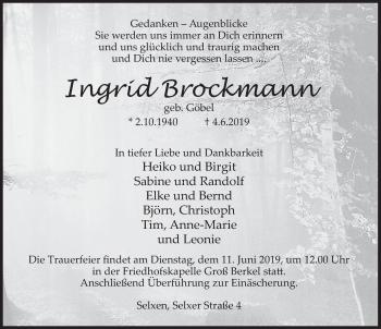 Traueranzeige für Ingrid Brockmann vom 08.06.2019 aus Deister- und Weserzeitung