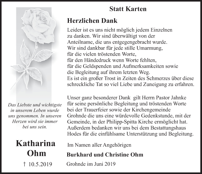 Traueranzeige für Katharina Ohm vom 08.06.2019 aus Deister- und Weserzeitung