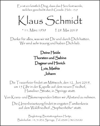 Traueranzeige für Klaus Schmidt vom 08.06.2019 aus Neue Deister-Zeitung