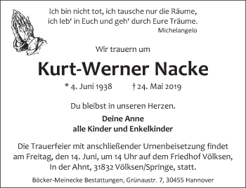 Traueranzeige für Kurt-Werner Nacke vom 08.06.2019 aus Neue Deister-Zeitung
