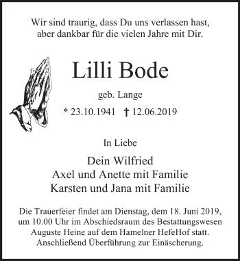 Traueranzeige für Lilli Bode vom 15.06.2019 aus Deister- und Weserzeitung
