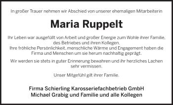 Traueranzeige für Maria Ruppelt vom 22.06.2019 aus Deister- und Weserzeitung