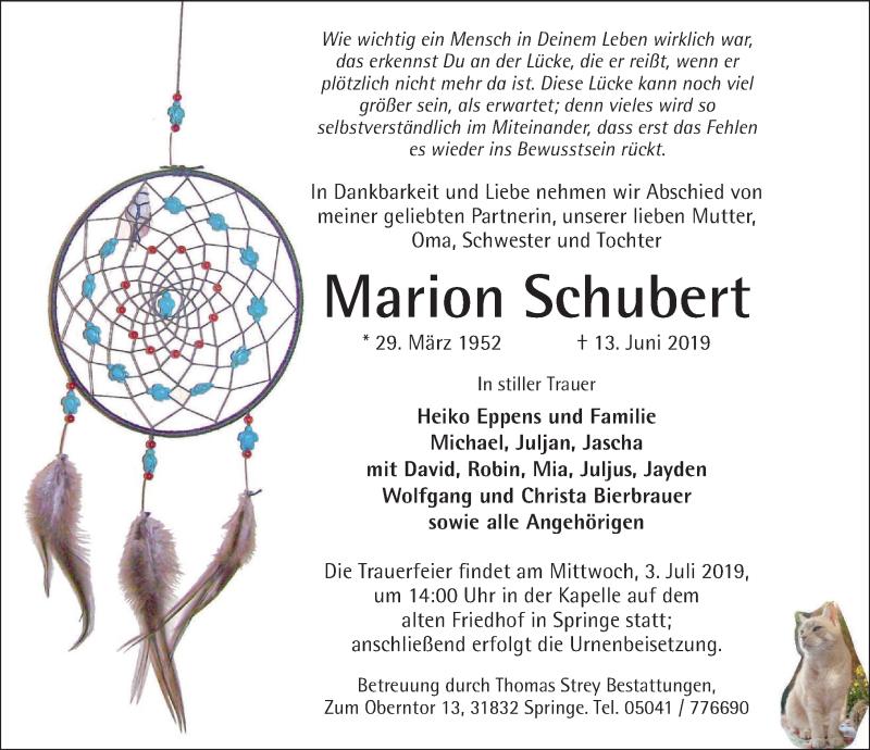 Traueranzeige für Marion Schubert vom 29.06.2019 aus Neue Deister-Zeitung