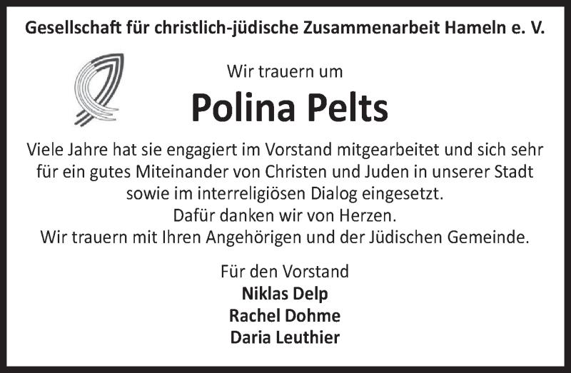 Traueranzeige für Polina Pelts vom 15.06.2019 aus Deister- und Weserzeitung