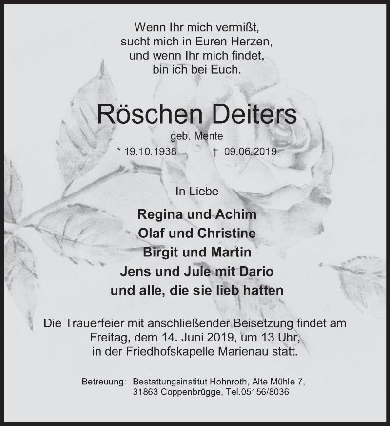 Traueranzeige für Röschen Deiters vom 12.06.2019 aus Deister- und Weserzeitung